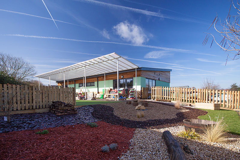 Notley Green Primary School - New Reception Block featuring landscaped outside space and canopy